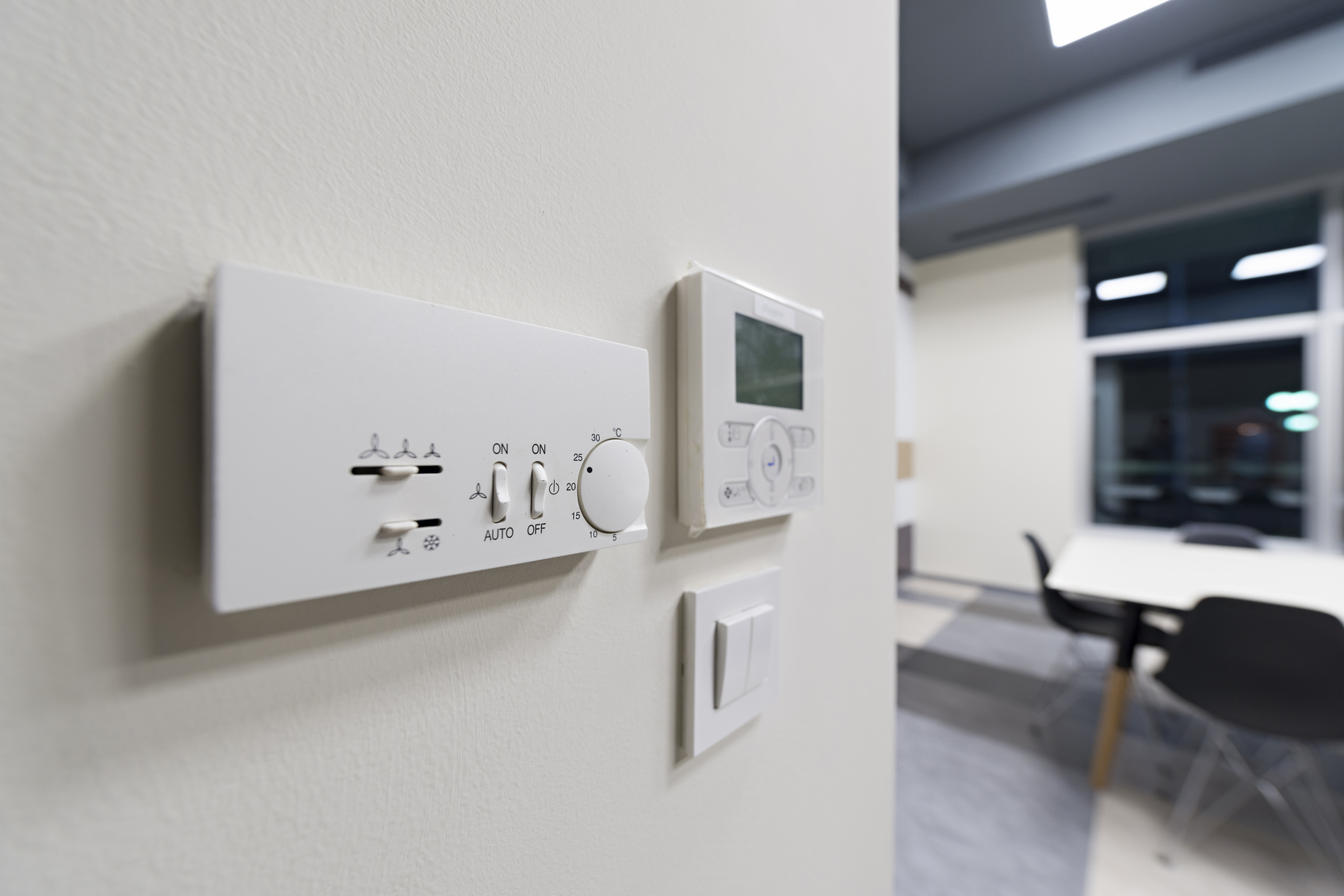 Climate Control System Installed On Office Wall