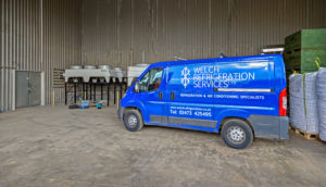 Welch Refrigeration van at PG Rix Farms Ltd in Great Horkesley - providing industrial refrigeration services in Essex