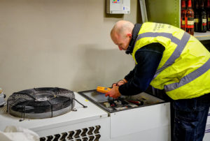 Welch Refrigeration engineer working on commercial freezers in Ipswich